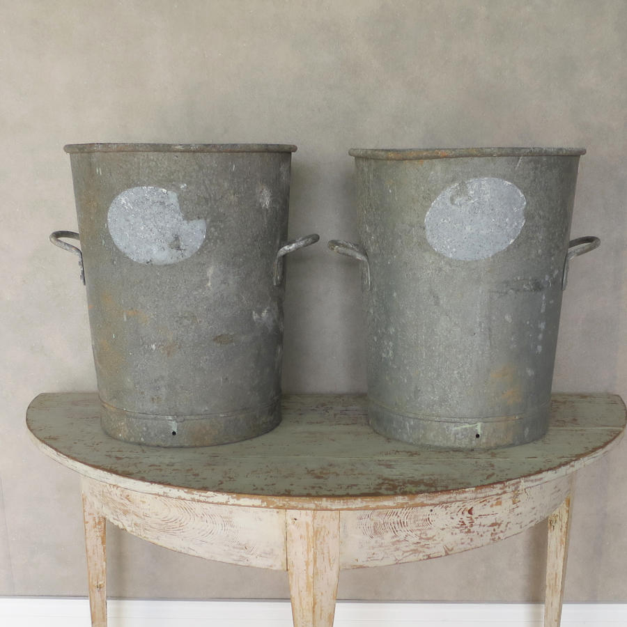 Vintage Zinc Flour Tubs