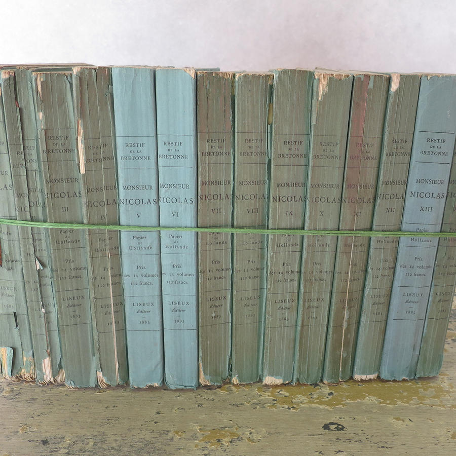 Set 10 small French 19th century Green Books