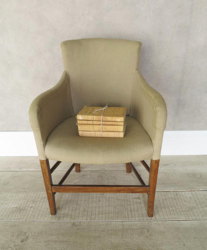 Single 19th c French Chair clad in old linen