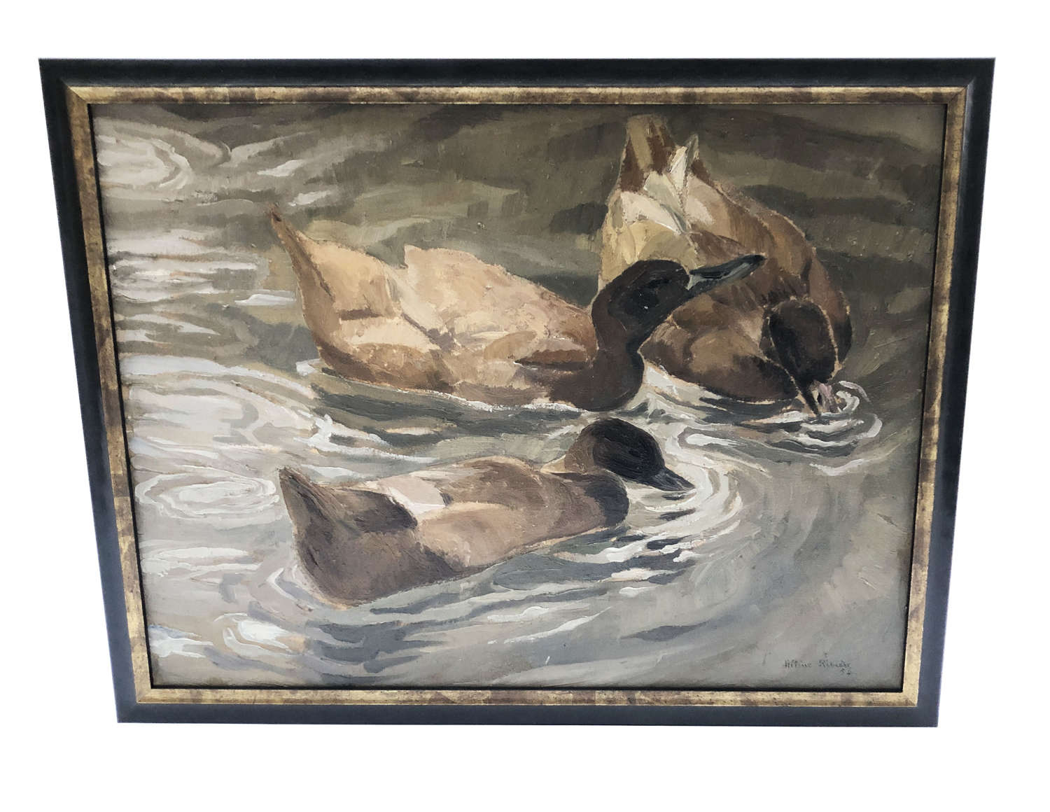 French 20th century Framed Oil on Canvas of Wild Ducks