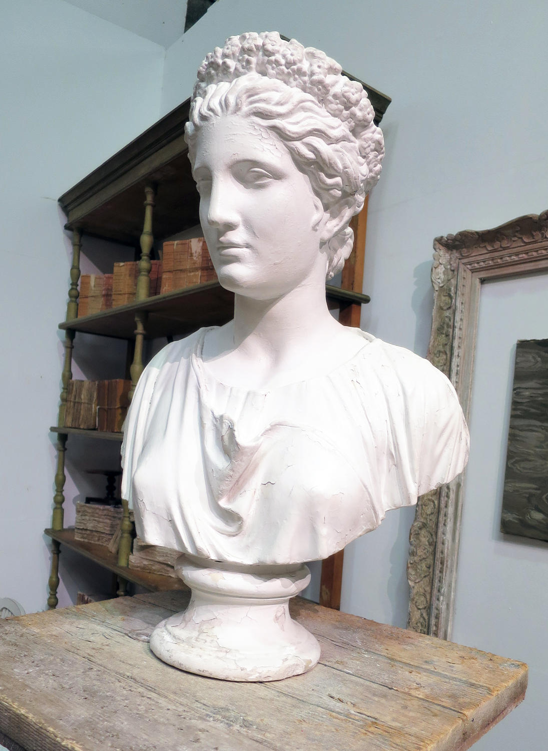19th c Plaster Bust of the Greek Goddess 'Flora'