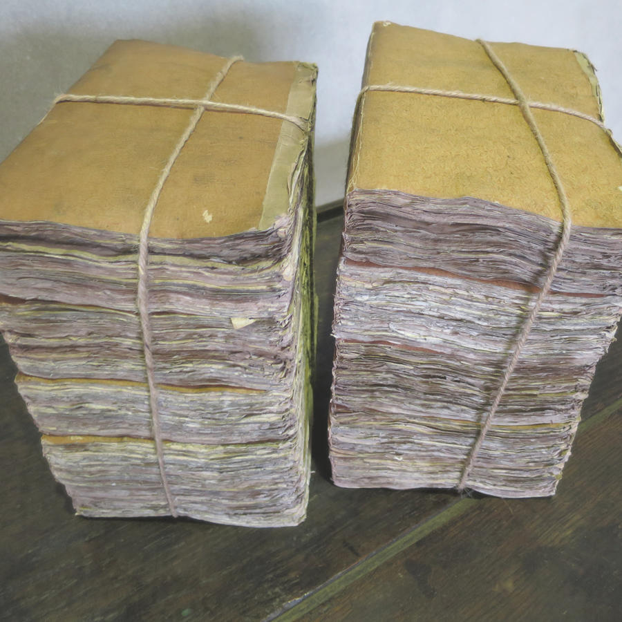 2 bundles of 18th c French Books with ochre covers Printed 1796
