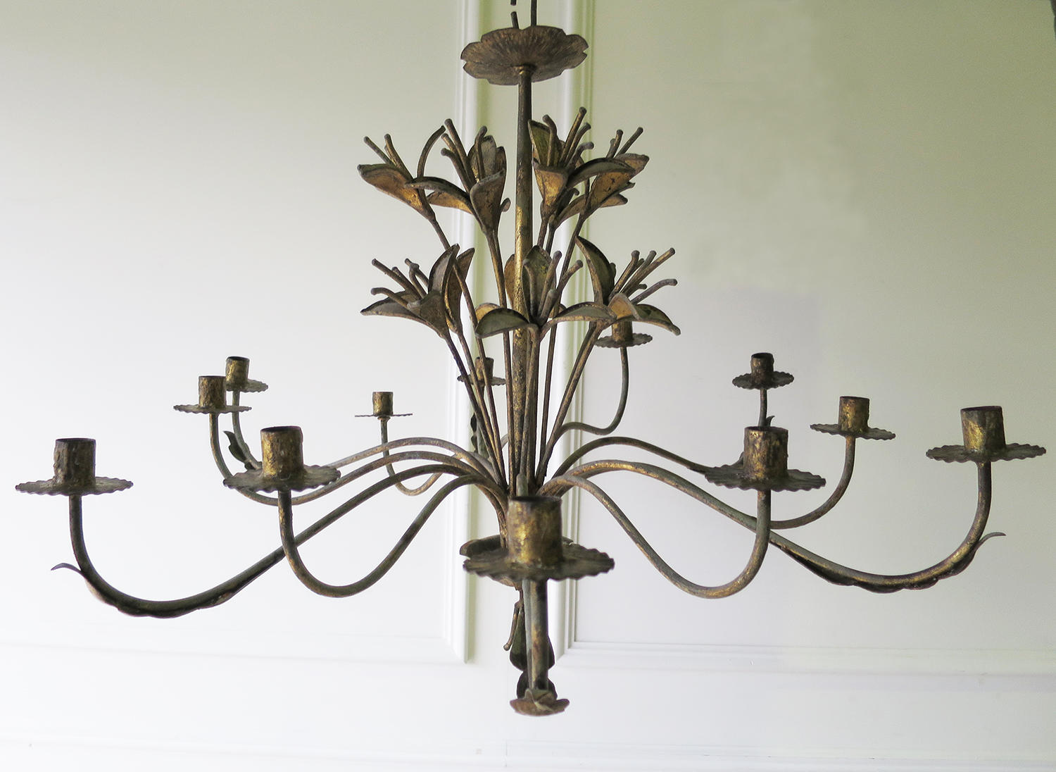 French early 20th c decorative 'Tole' Chandelier circa 1910