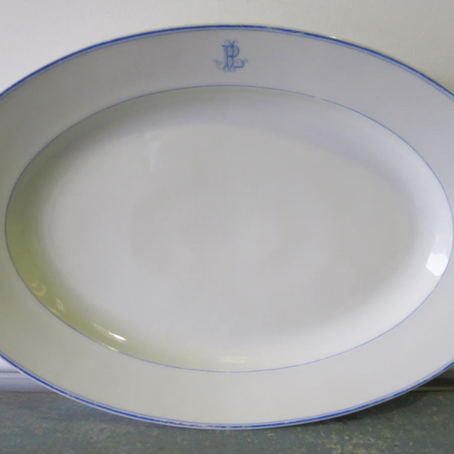 Large 19th c French White Meat Server with Monogram
