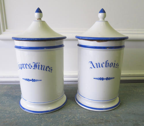 Pair French 19th c White Porcelain Spice Jars