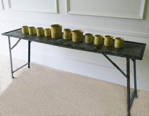 Narrow French Iron Folding Table Circa 1920