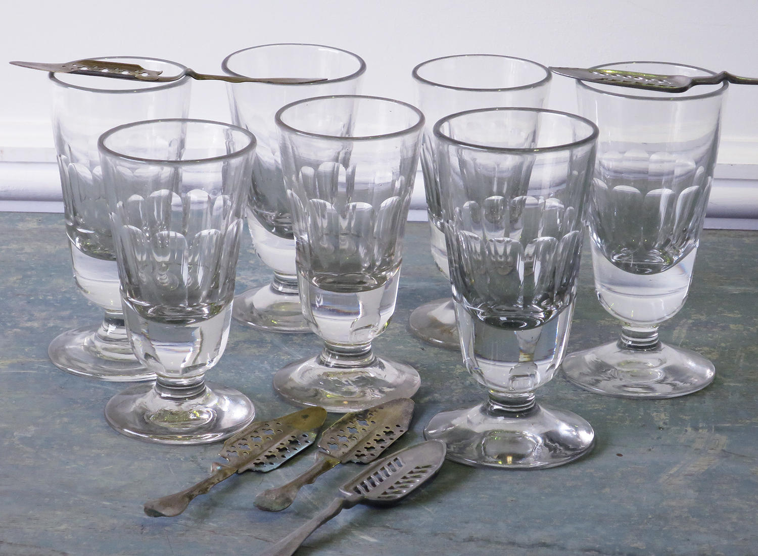 Collection French Absinthe or Wine Glasses circa 1900