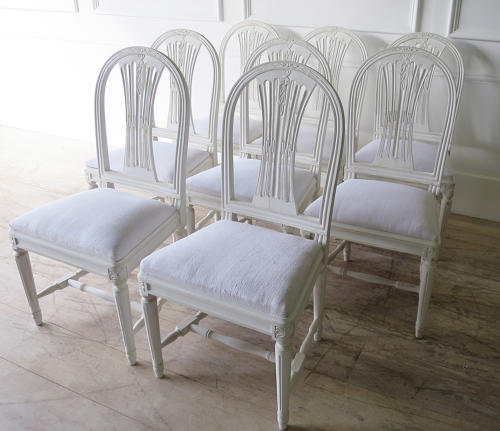Set of 8 Swedish Dining Chairs with WheatSheath backs c. 1950