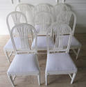 Set of 8 Swedish Dining Chairs with WheatSheath backs c. 1950 - picture 2