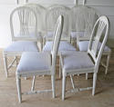 Set of 8 Swedish Dining Chairs with WheatSheath backs c. 1950 - picture 7