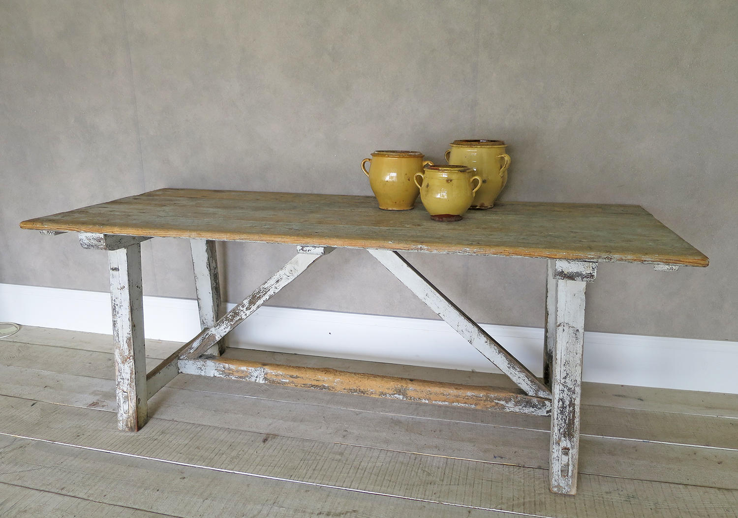 19th century Italian pine TrestleTable with remains of Original Paint