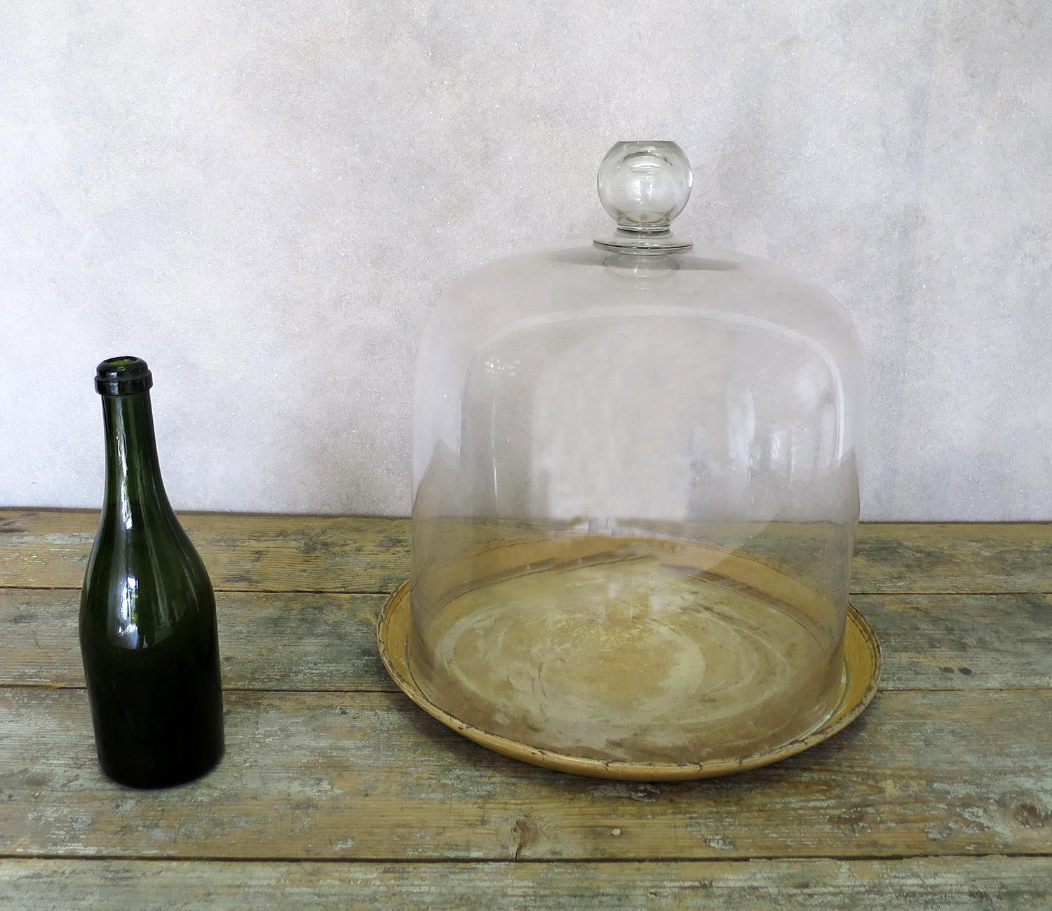 Huge and Rare 19th c glass Cheese Bell - circa 1870