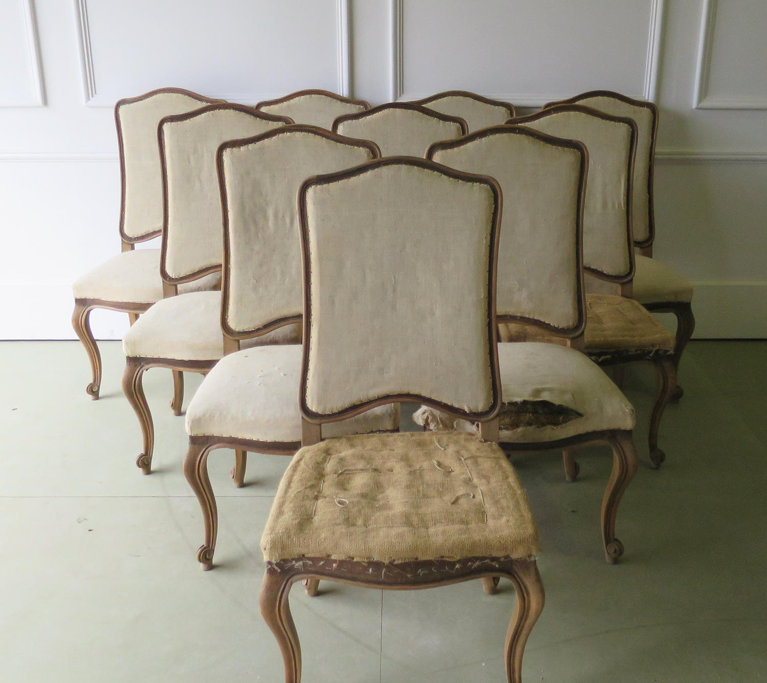 Set of 10 French late 19th c Dining Chairs