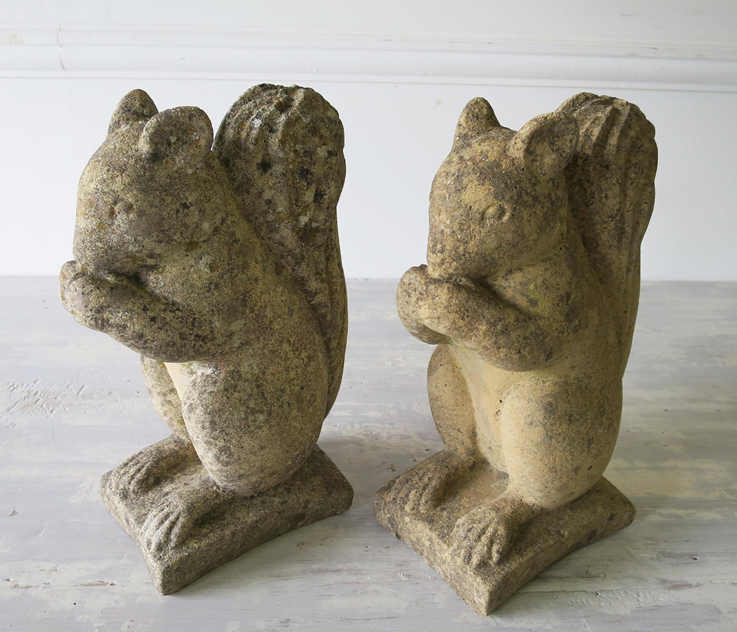 Pair of English Composition Stone Squirrels - circa 1940