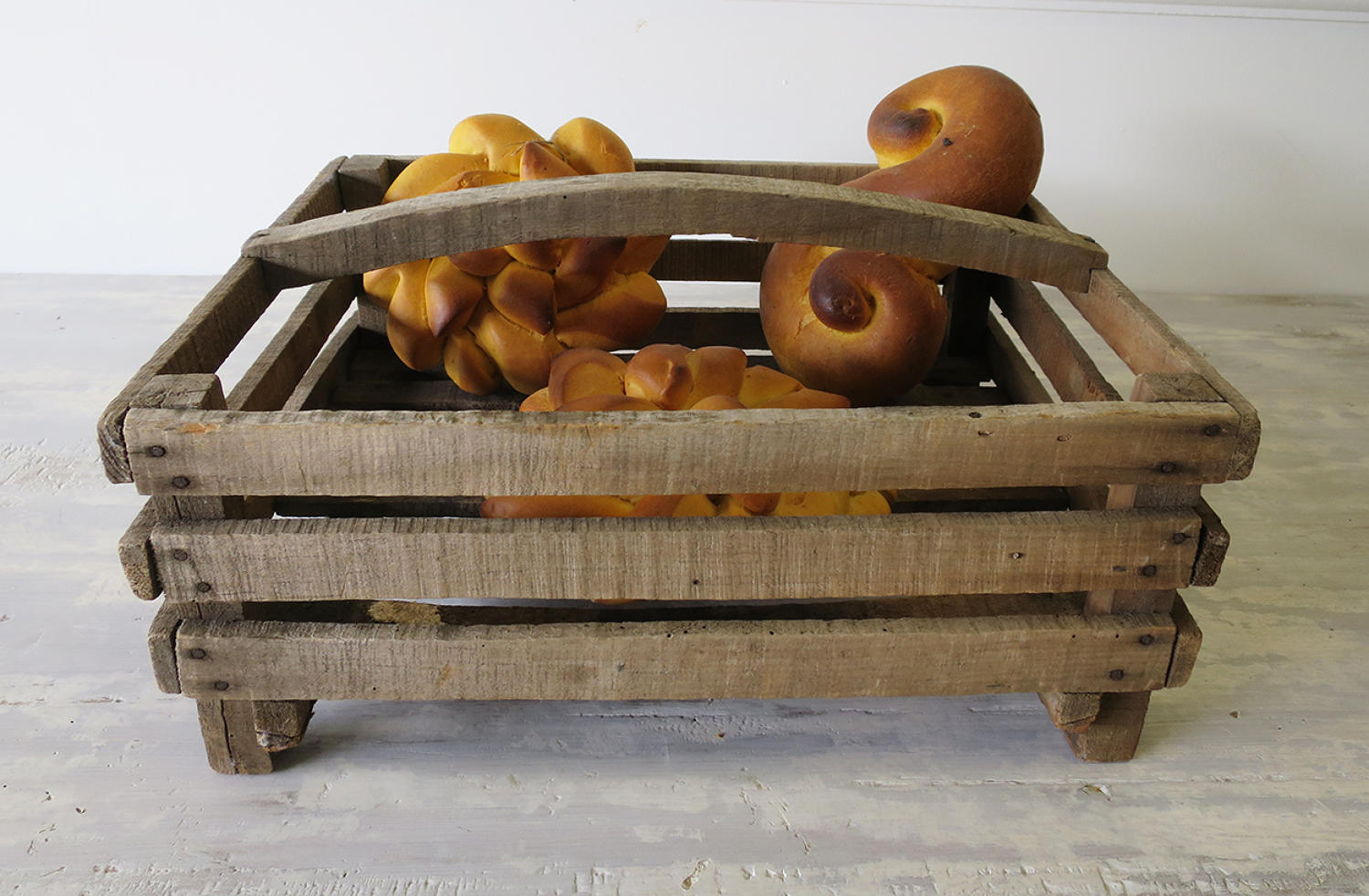 Wooden Slatted French Basket - circa 1940