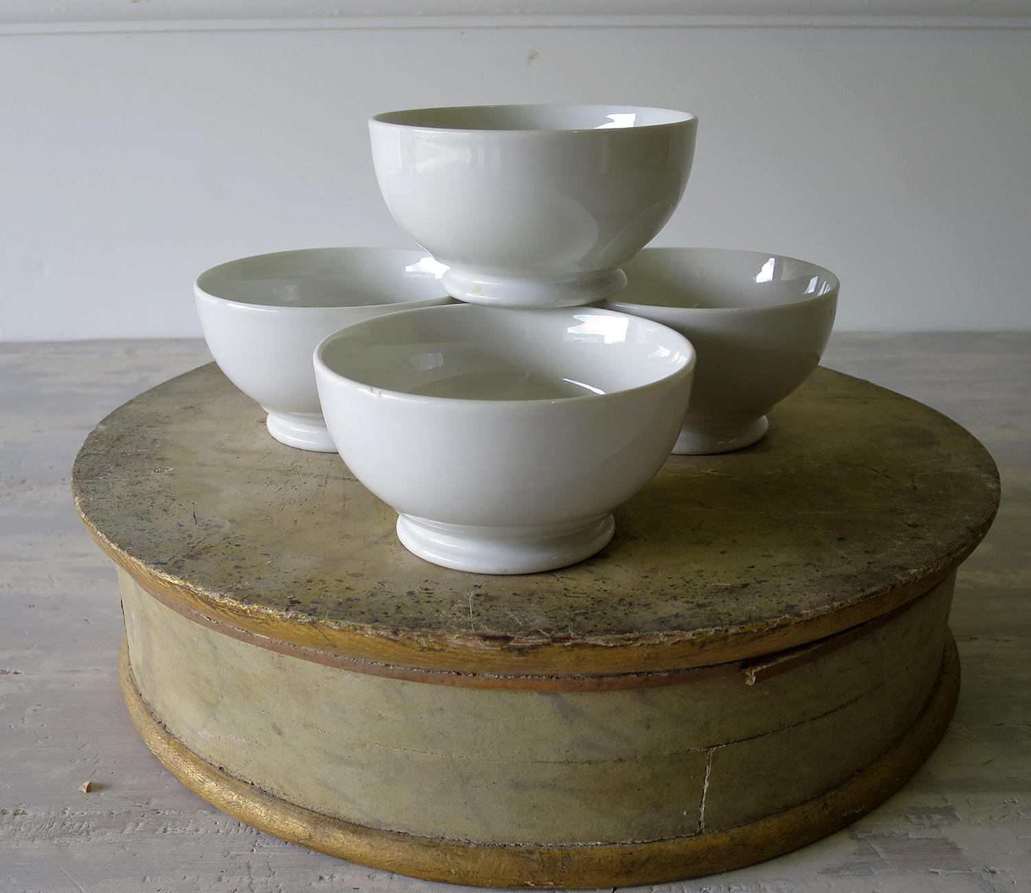 Set of 4 small white Porcelain Bowls French circa 1930