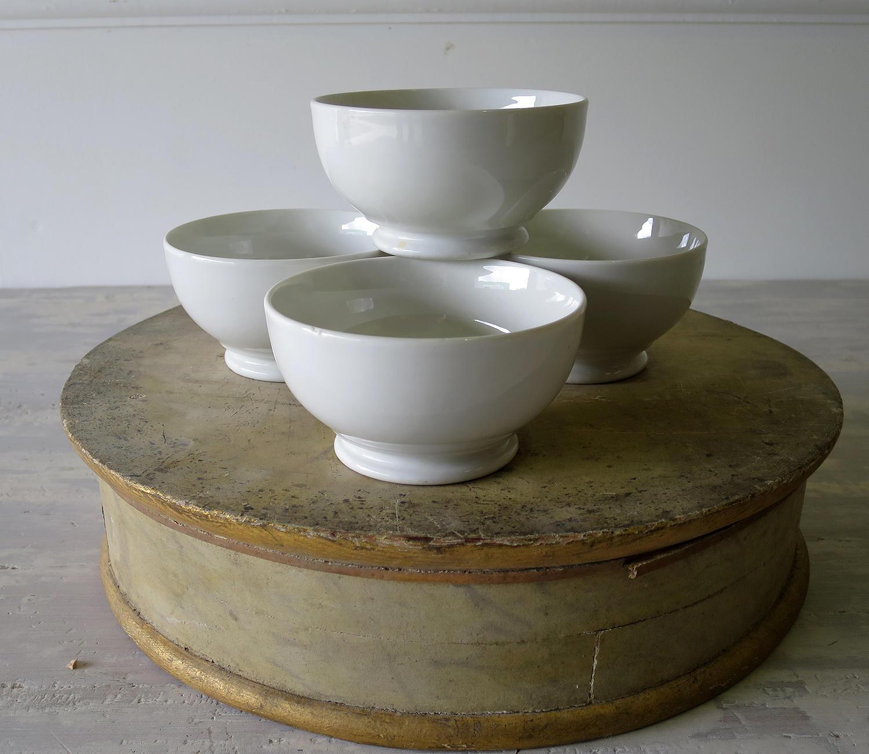 Set of 4 small white Porcelain Bowls French circa 1930