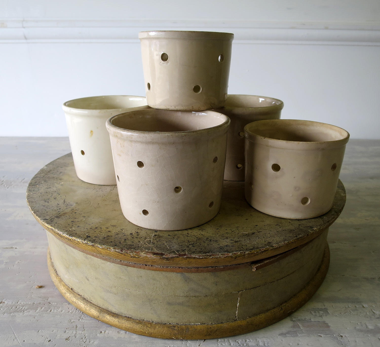 Set of 5 French Cheese Draining Pots circa 1900