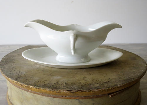 19th century French white Porcelain Sauce Boat