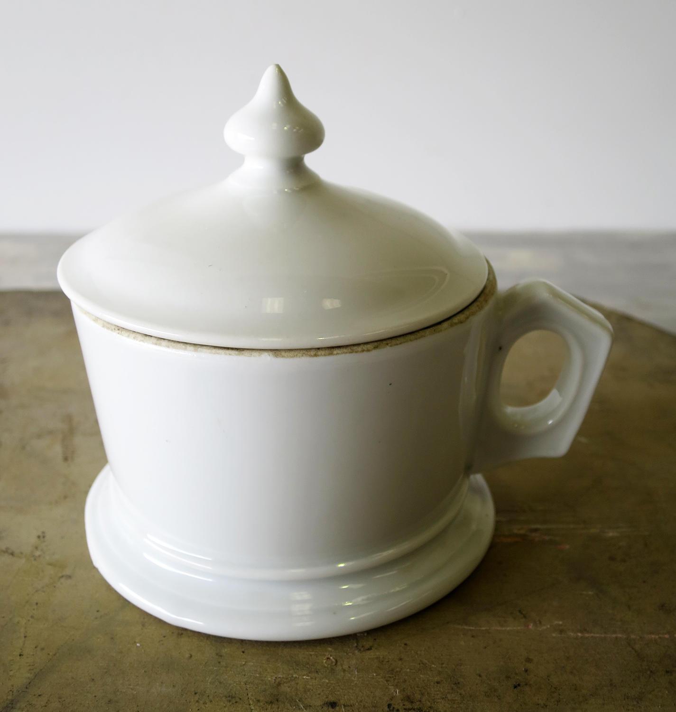 19th century White French Lidded Mug