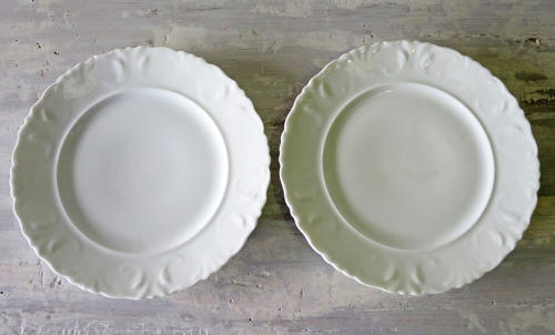 Pair of French pretty white Side Plates circa 1920