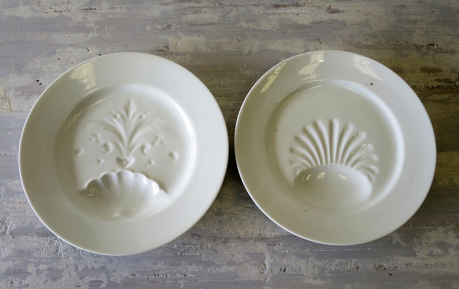 Two charming French white Porcelain Asparagus Plates 19th c