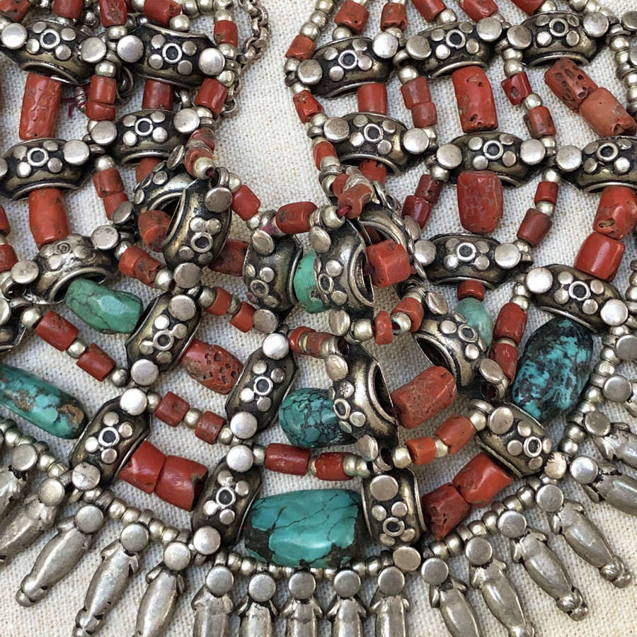 19th c Nepalese Turquoise and Coral Necklace