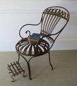 Single Iron sprung arm chair with footstool circa 1880 - picture 1