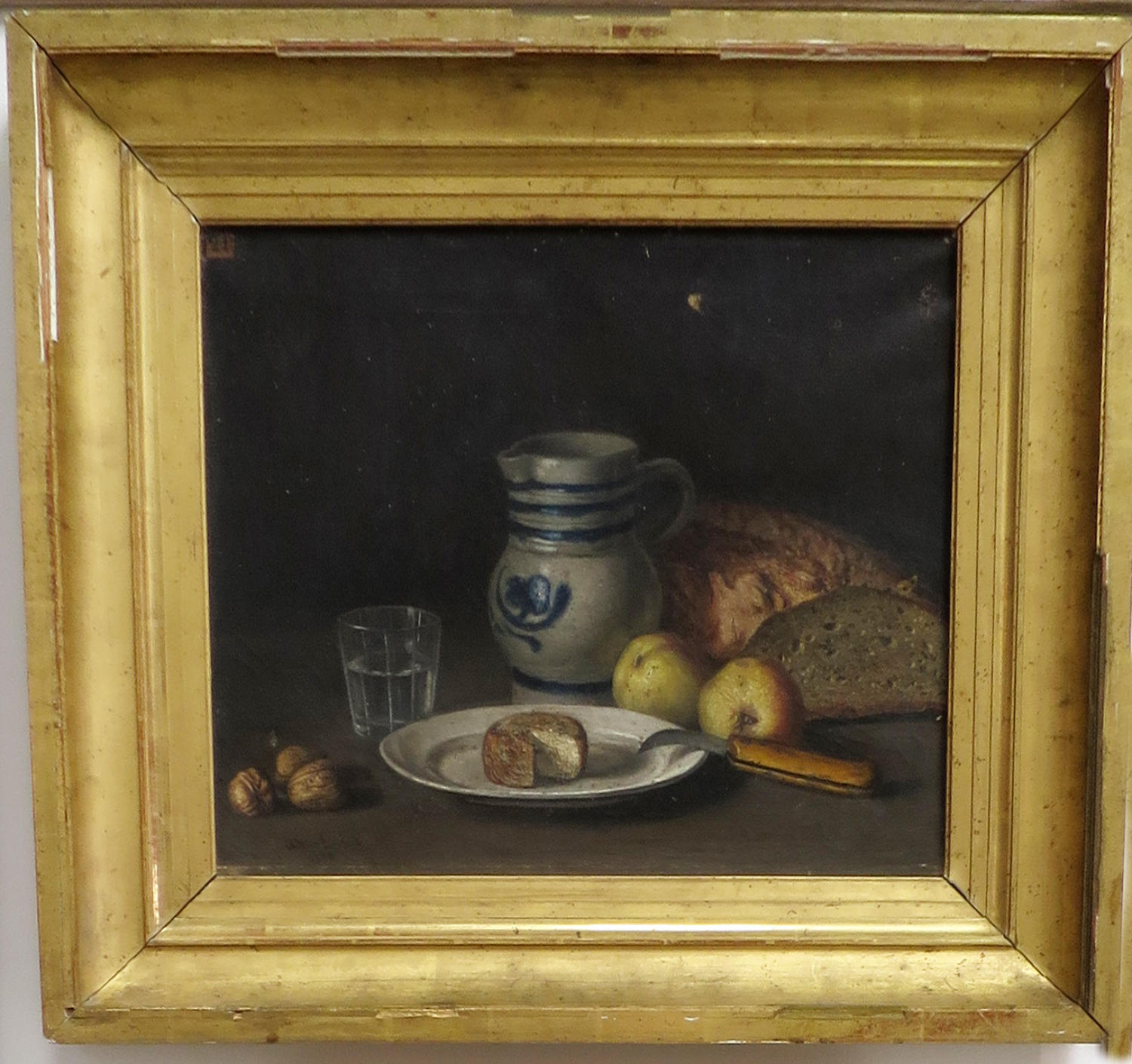 French 19th century Still Life - oil on canvas of Bread & Cheese
