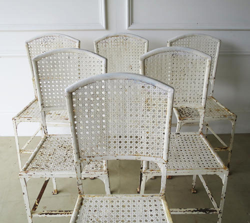 Set of 6 French Iron Garden Chairs - Circa 1930