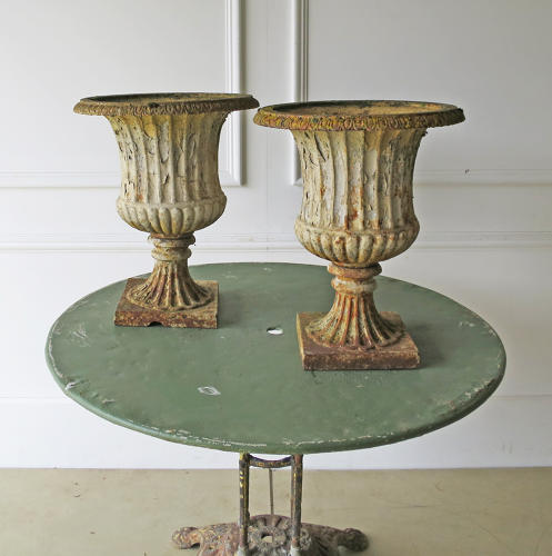 A Pair of 19th c English Cast Iron Campana Urns - circa 1840