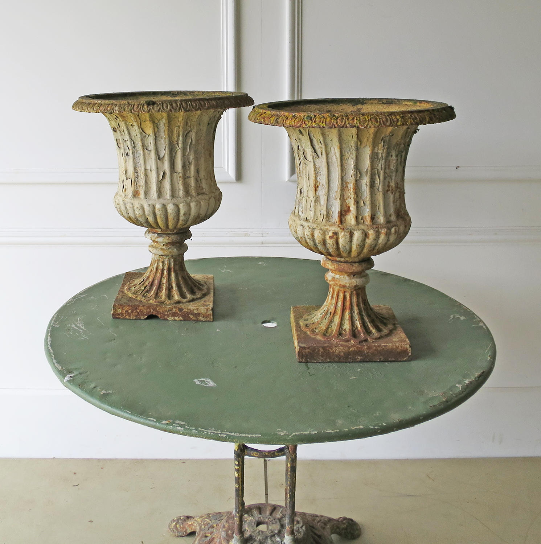 A Pair of 19th c English Cast Iron Campana Urns - circa 1840