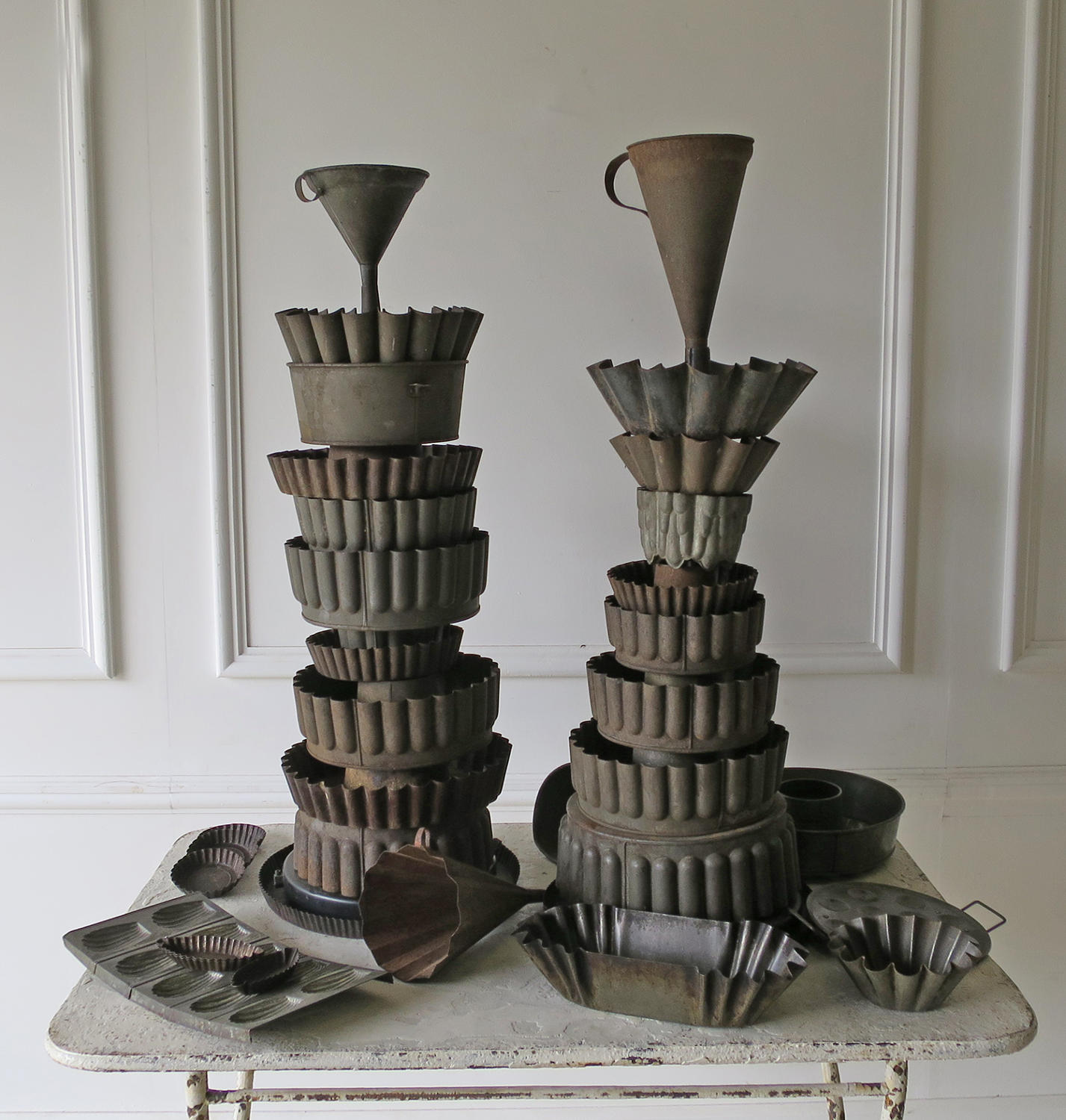 Pair of Tin Towers made with old French Tole Moulds - circa 1940