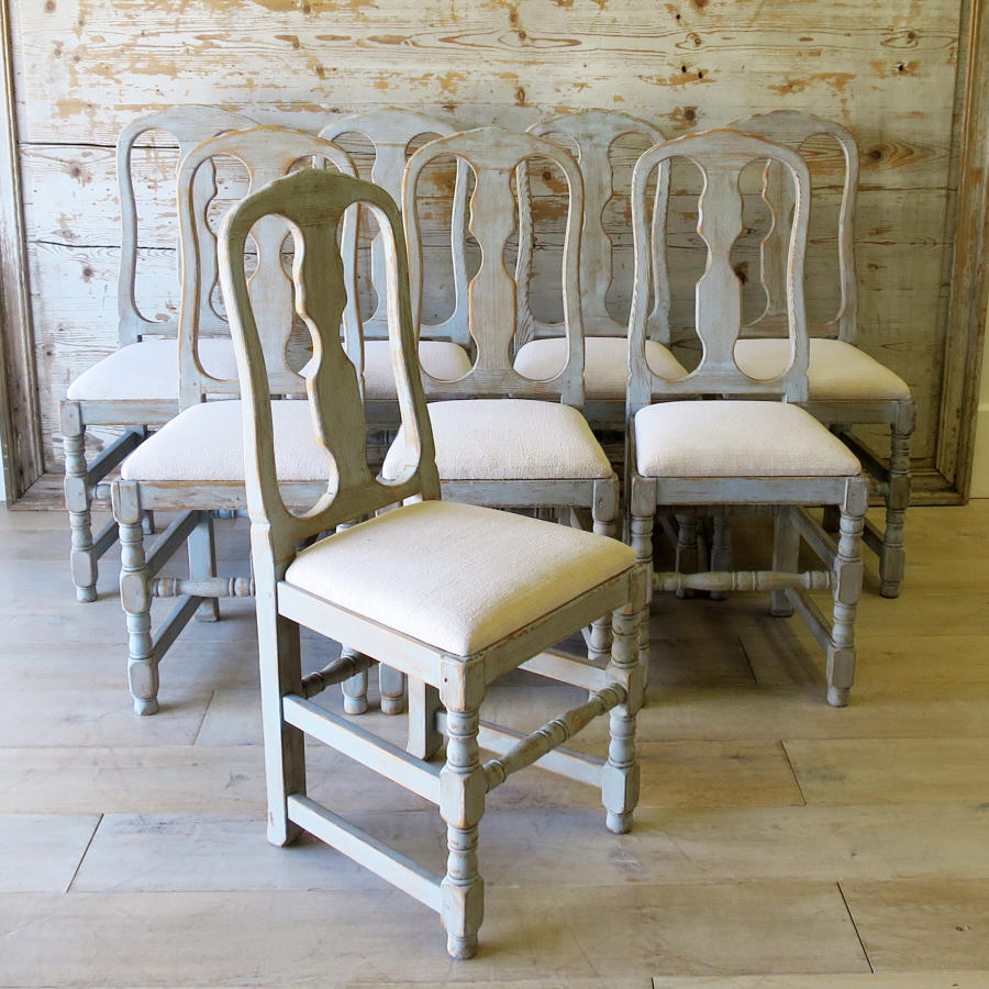 Set of 8 Swedish Country Dining Chairs