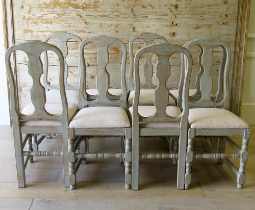 Set of 8 Swedish Country Dining Chairs in Antique Seating