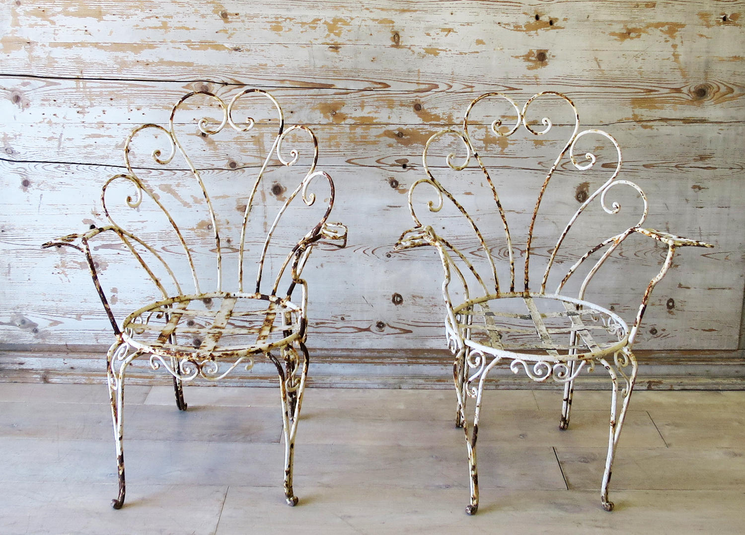 Pair of Funky Iron Garden Chairs - circa 1950