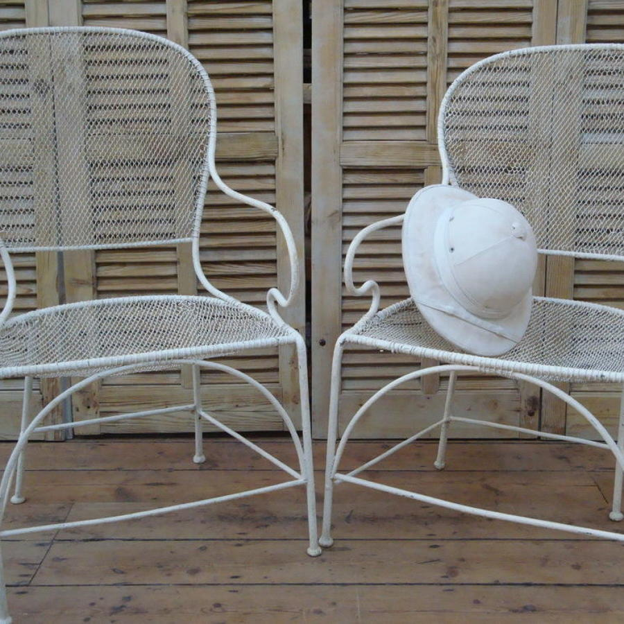 Pair of French Iron and wire mesh Chairs