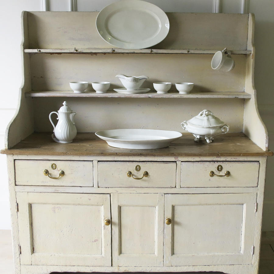 19th c English Painted Pine Dresser