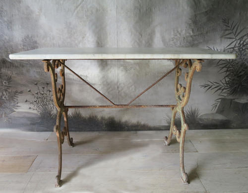 Cast Iron Bistro Table with marble top circa 1890