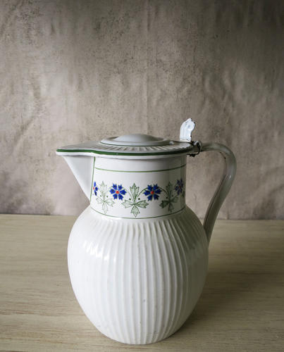 Lovely French Enamel Water Jug  circa 1930