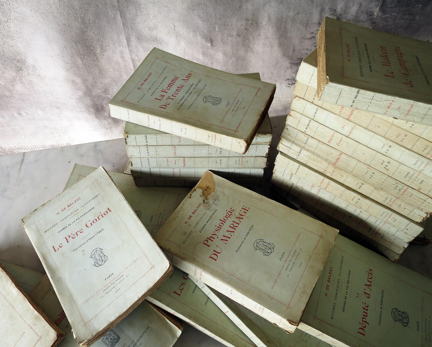 Set of 44 Green French Books