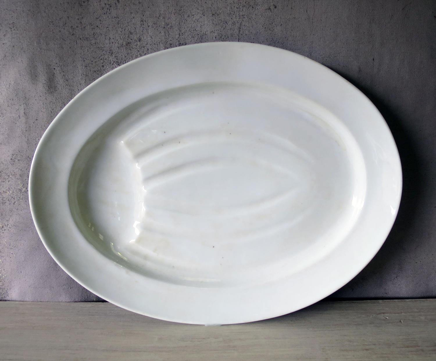 French White Porcelain Meat Carving Plate circa 1920