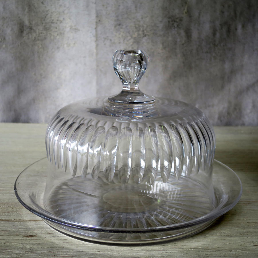 French Crystal Cheese Dome with underplate - circa 1920