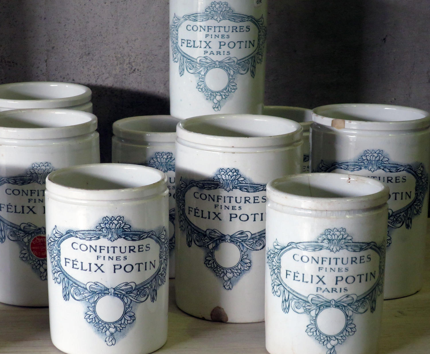 Collection of 19th century French 'Felix Potin' Jam Jars