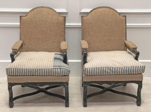 Pair of French Regency Arm Chairs