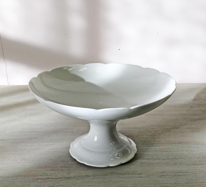 French White 'Porcelaine de Paris' Raised Fruit Bowl c 1880