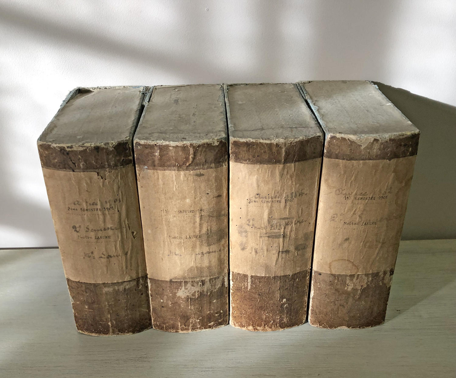 Set of 4 19th c French 'Achive' boxes circa 1884