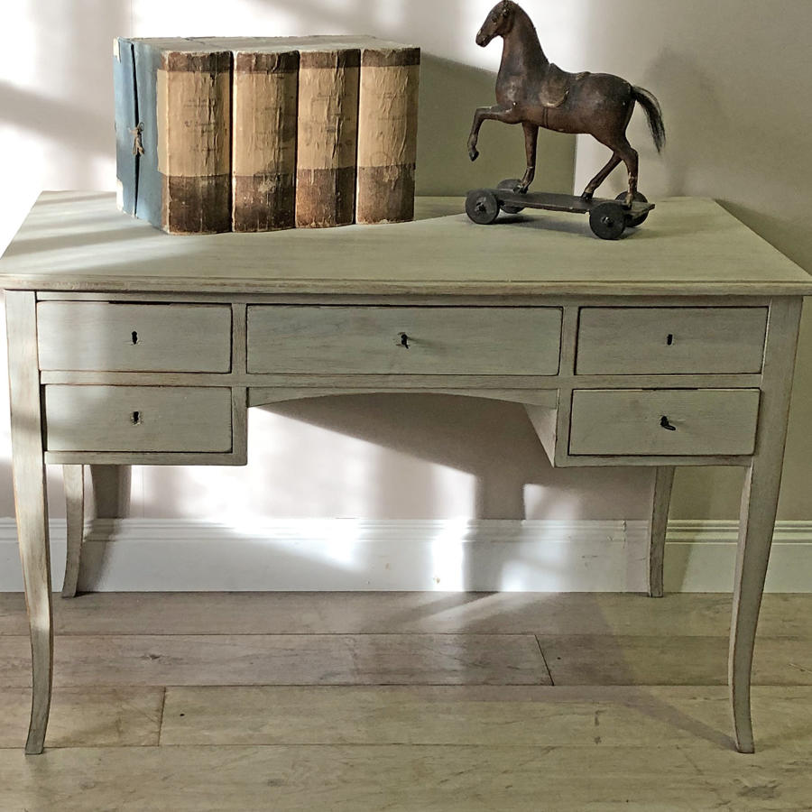 20th c Bleached Oak Swedish 5-drawer Desk