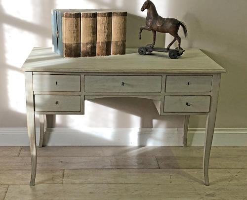 20th c Bleached Oak Swedish 5-drawer Desk