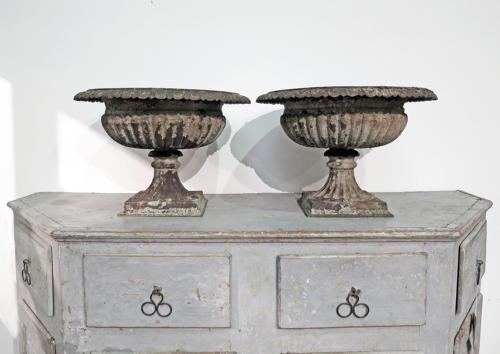 Pair of 19th c Cast Iron Urns